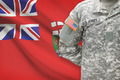 American soldier with Canadian province flag on background - Manitoba - PhotoDune Item for Sale