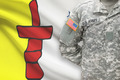 American soldier with Canadian province flag on background - Nunavut - PhotoDune Item for Sale