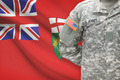 American soldier with Canadian province flag on background - Ontario - PhotoDune Item for Sale