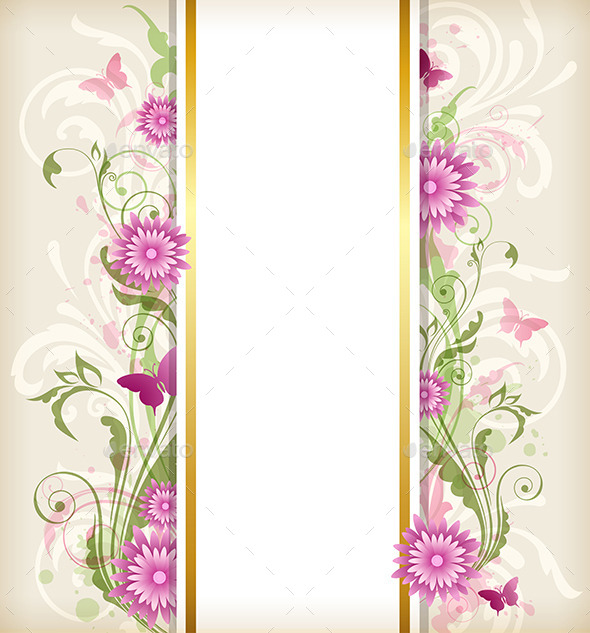 GraphicRiver Floral Background with Pink Flowers 10266226