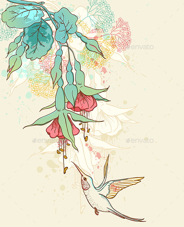 GraphicRiver Hummingbird and Flowering Branch 10266261