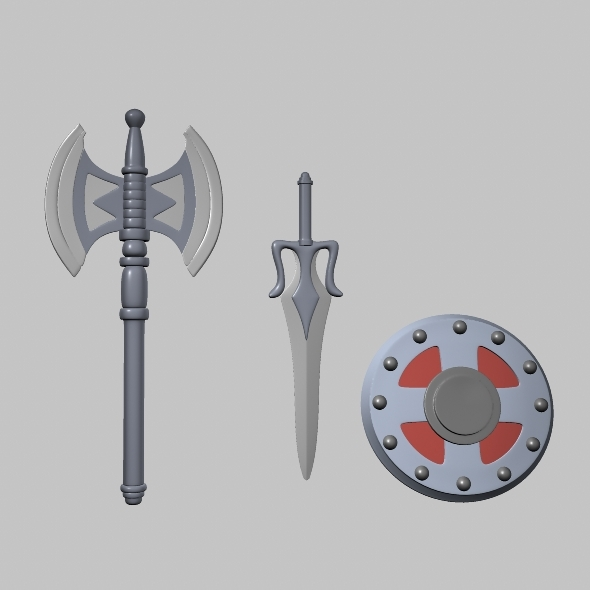 weapons swords and shield - 3DOcean Item for Sale