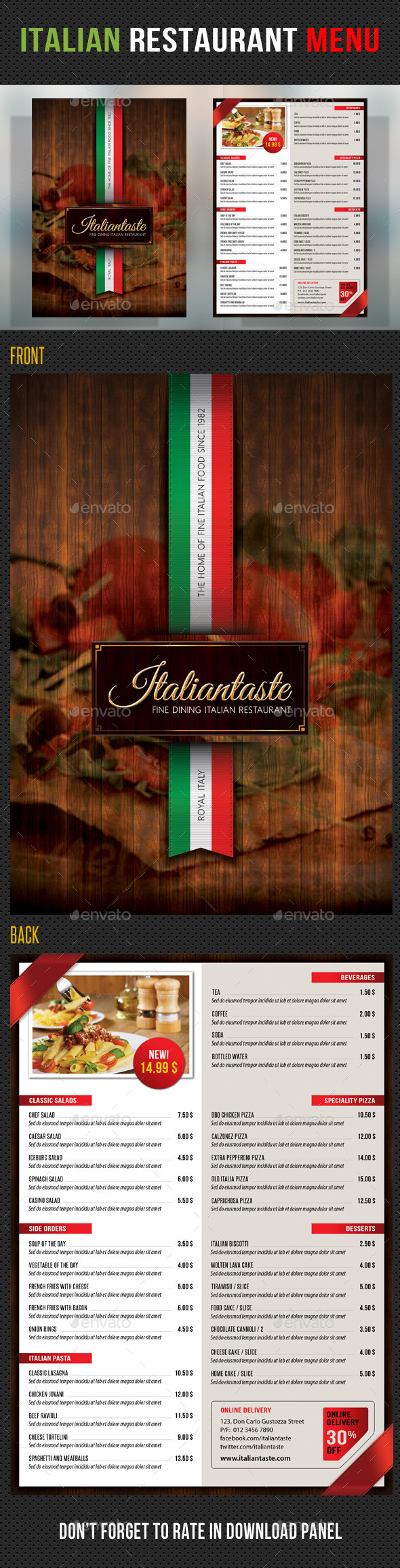 GraphicRiver Italian Restaurant Menu Template 10266362