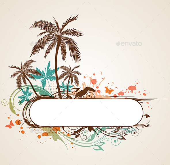 GraphicRiver Tropical Background with Palms 10266617