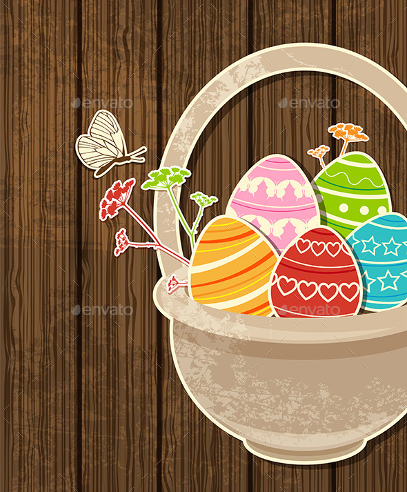 GraphicRiver Easter Background with Eggs in Basket 10266938