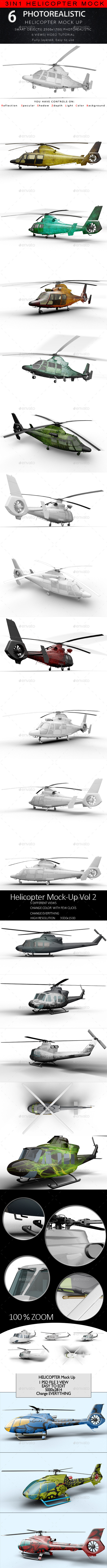 GraphicRiver 3in1 Bundle Helicopter Mock Up 10267098