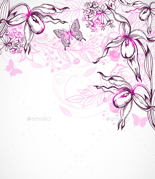 GraphicRiver Floral Background with Orchids 10267149