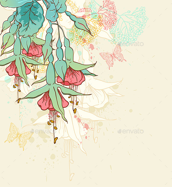 GraphicRiver Background with Red Tropical Flowers 10267317