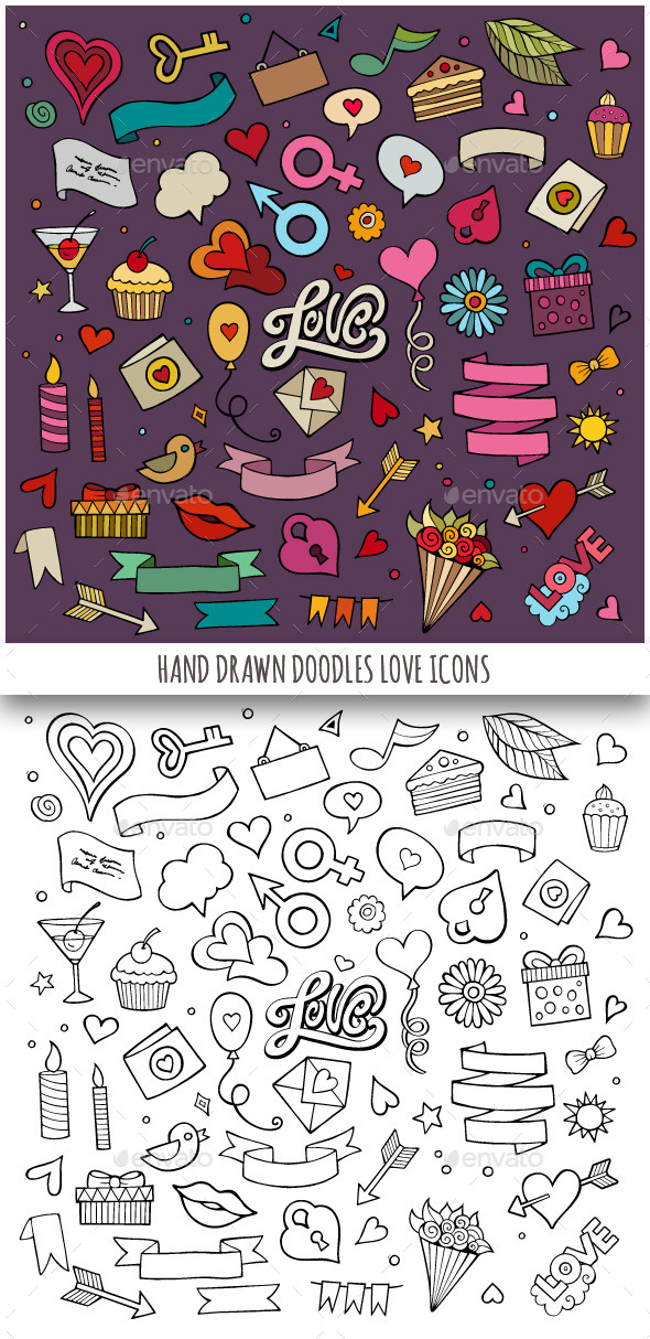 GraphicRiver Hand Drawn Love Doodles Icons 10267516