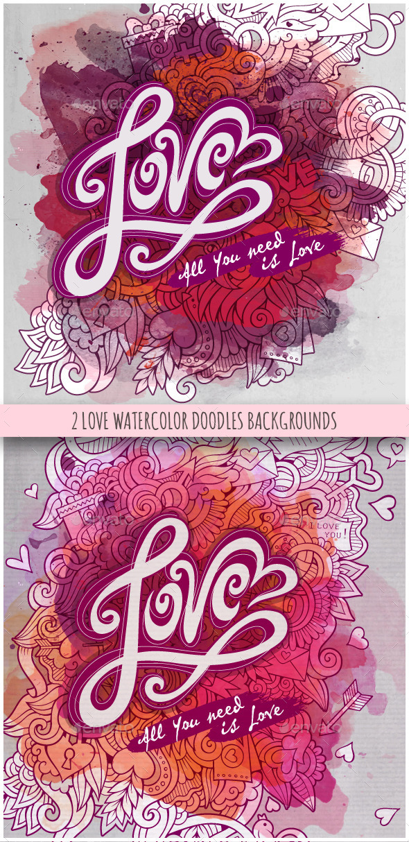 GraphicRiver Love Cards Watercolor Design 10267540
