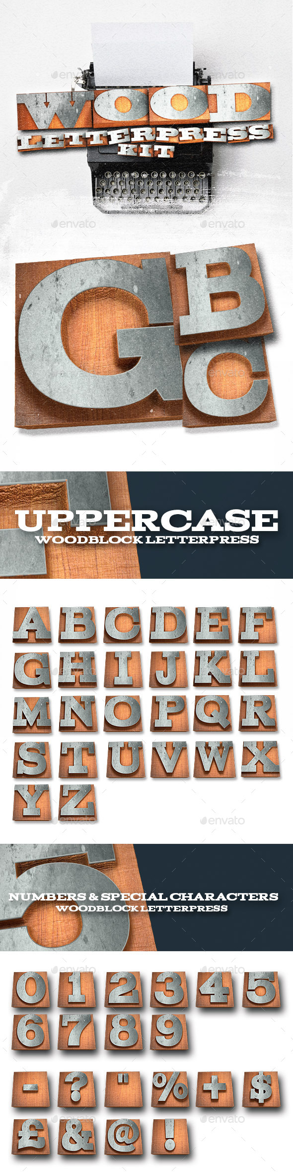Wood Letterpress Text Kit