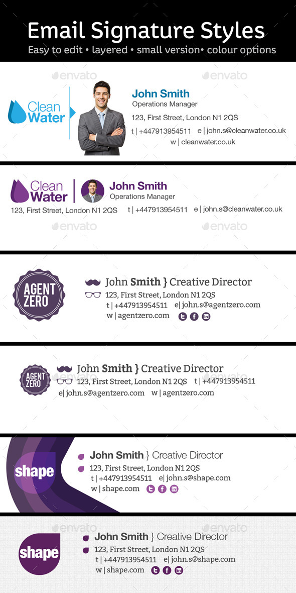 GraphicRiver 6 Email Signature Styles 10202796