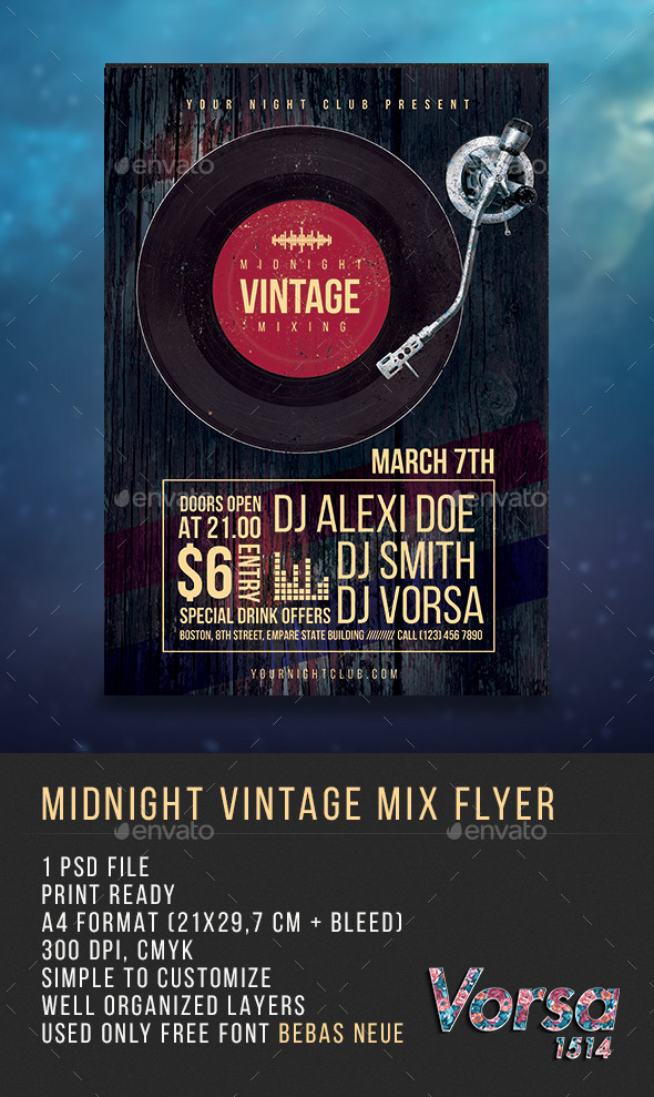 GraphicRiver Midnight Vintage Mix Flyer 10267895