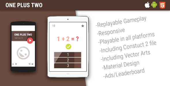 CodeCanyon One Plus Two HTML5 Mobile Game 10267913