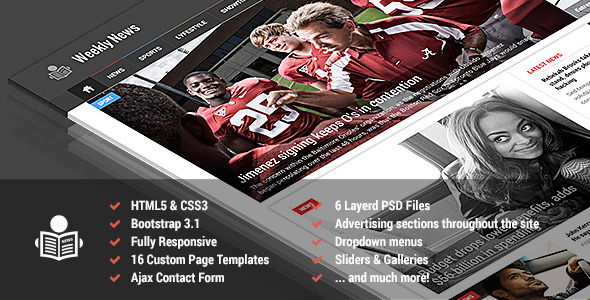 Weekly News - Responsive News/Magazine Template Download