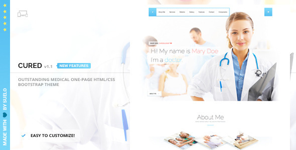 Cured - Medical One Page Bootstrap HTML/CSS Theme - Health & Beauty Retail
