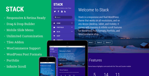 ThemeForest Stack WordPress Theme for Creating Metro Layouts 10268141