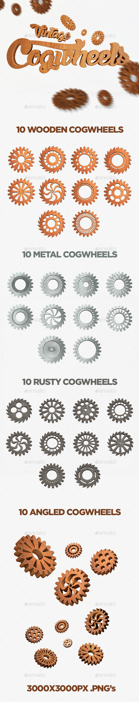 GraphicRiver Vintage Cogwheels Set 10268310