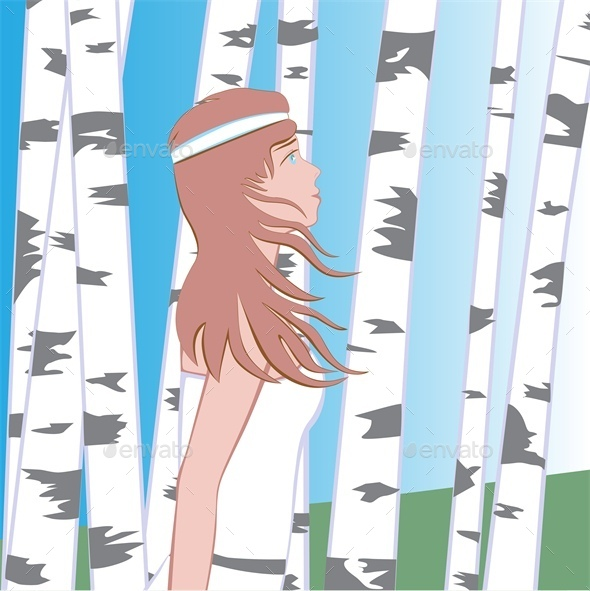 GraphicRiver Girl Between Birches 10268372