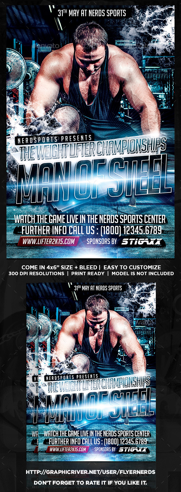 GraphicRiver Man Of Steel Championships Sports Flyer 10268983