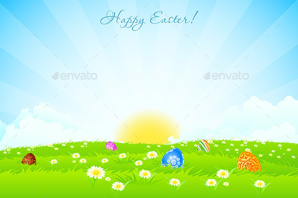 GraphicRiver Green Landscape Background with Easter Eggs 10269253