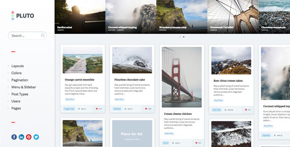 Pluto Clean Personal WordPress Masonry Blog Theme - Personal Blog / Magazine