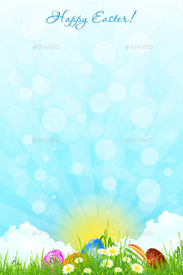 GraphicRiver Green Landscape Background with Easter Eggs 10269259