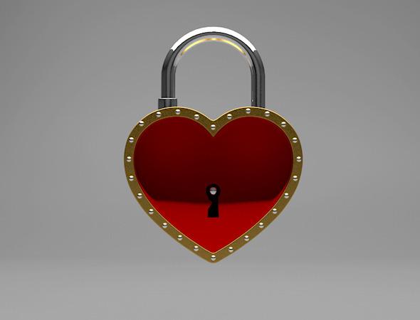 Heart Padlock - 3DOcean Item for Sale