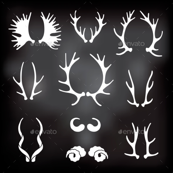 GraphicRiver Horns Silhouettes Set 10269340