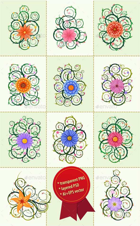 GraphicRiver Floral Ornament Vector Bundle 10269616