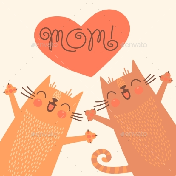 GraphicRiver Card for Mothers Day with Cats 10269624