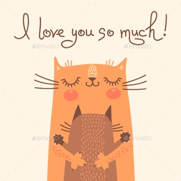 GraphicRiver Card for Mothers Day with Cats 10269625