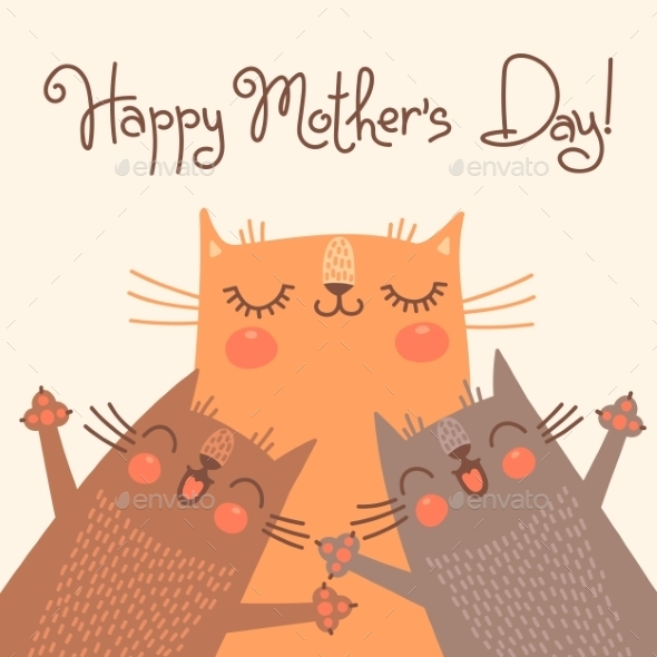 GraphicRiver Card for Mothers Day with Cats 10269626