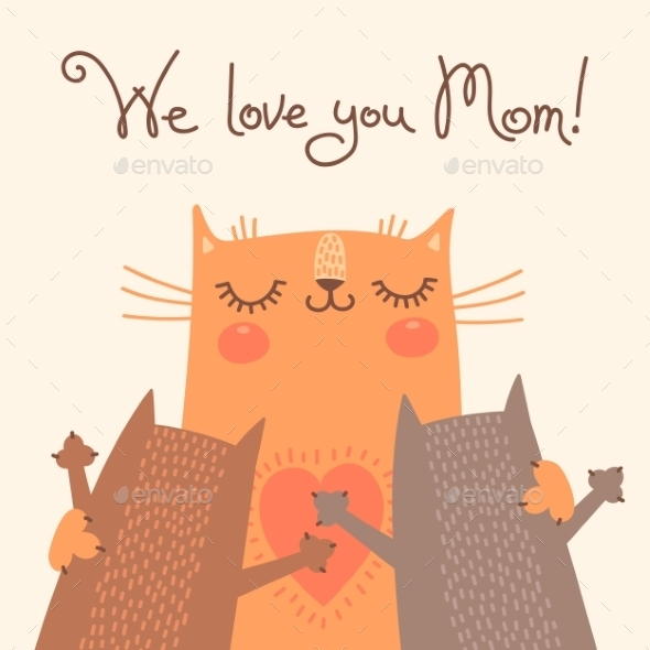 GraphicRiver Card for Mothers Day with Cats 10269627