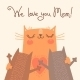 Card for Mothers Day with Cats - GraphicRiver Item for Sale