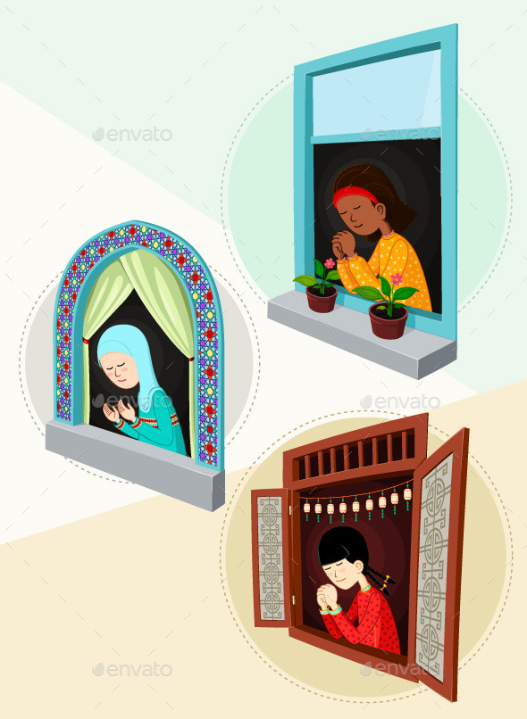 Praying Girl Illustration Bundle