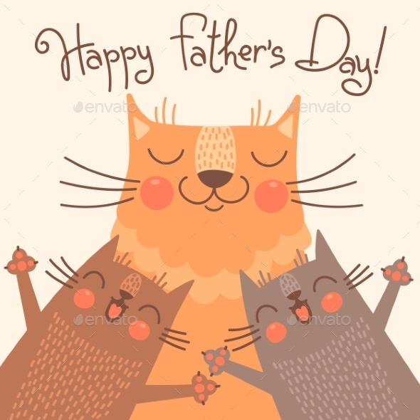 GraphicRiver Card for Fathers Day with Cats 10270007