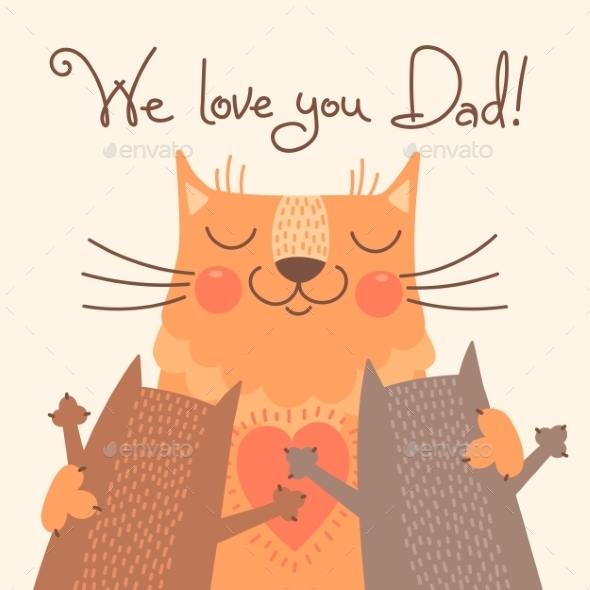 GraphicRiver Card for Fathers Day with Cats 10270053