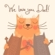 Card for Fathers Day with Cats - GraphicRiver Item for Sale