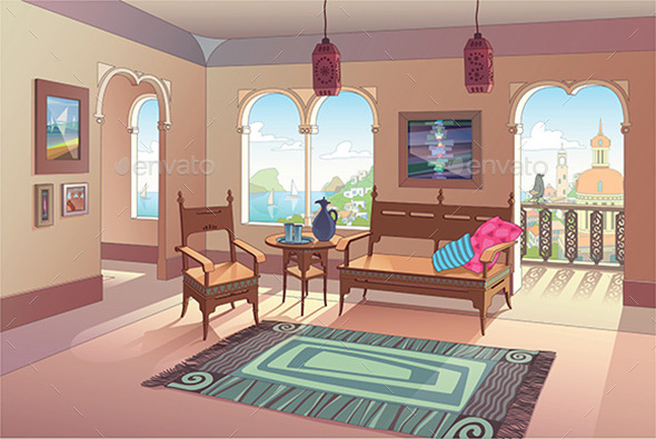 GraphicRiver Light Living Room in Oriental Style 10270056