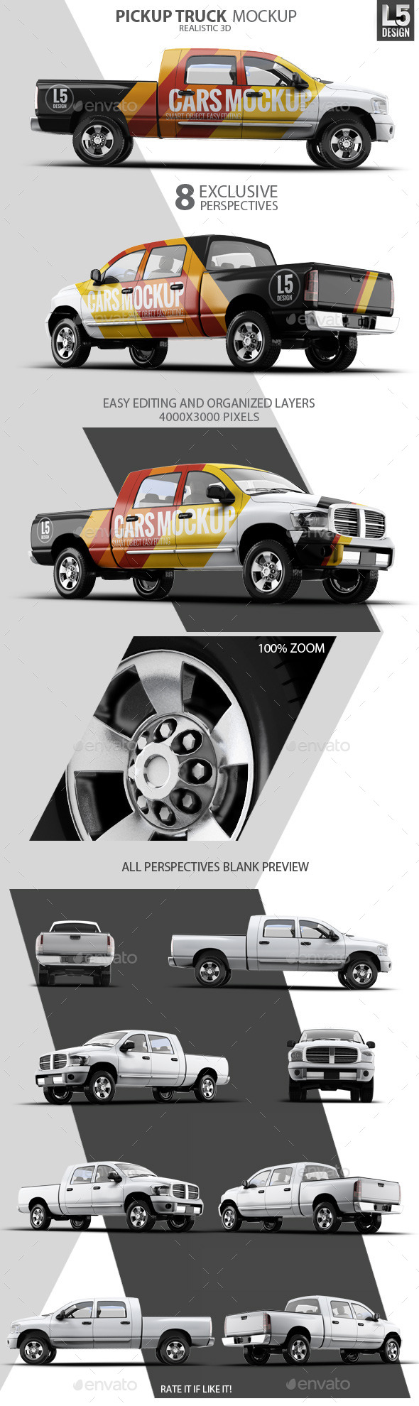 Pickup Truck Mock-Up (Graphicriver – 10270078)
