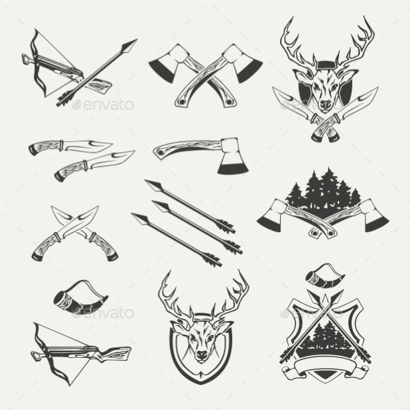 Set of Hunt Emblems Badges Labels and Designed