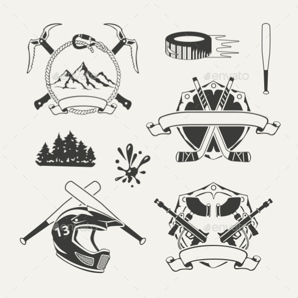 GraphicRiver Set of Extreme Sports Emblems Badges Labels 10270095
