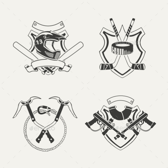 GraphicRiver Set of Extreme Sports Emblems Badges Labels 10270099