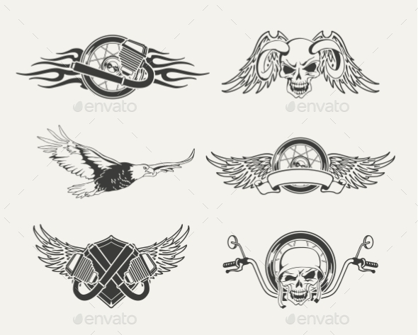 Set of Motorcycle Emblems, Badges, Labels and Design