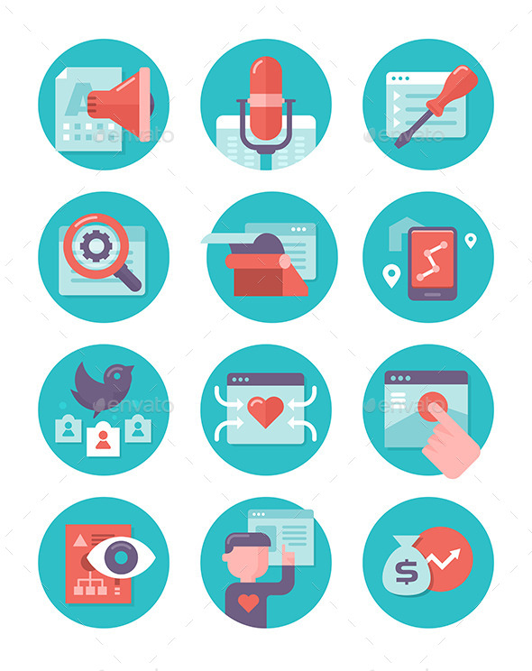 GraphicRiver Content Marketing and SEO Icons 10270465