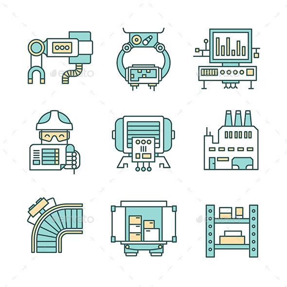 GraphicRiver Manufacturing Process Icons 10270614