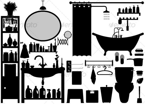 GraphicRiver Bathroom Toilet Design Set Vector 129561