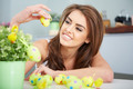 Smiling female laughing with colorful easter eggs - PhotoDune Item for Sale