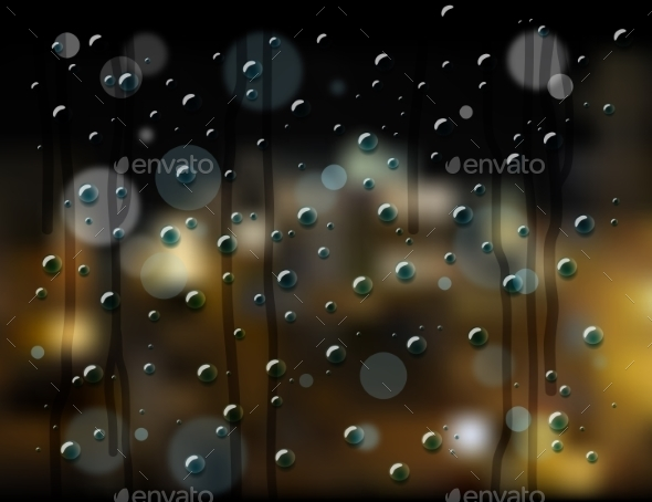 Rain Drops Night City